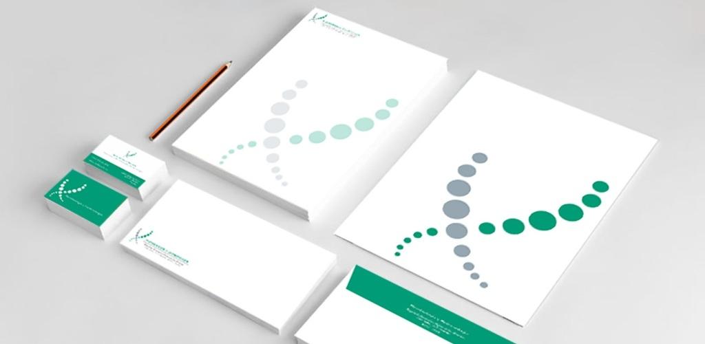 Diseño de logo y papelería corporativa para científicos